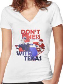 Texas Rangers Punch Women's Fitted V-Neck T-Shirt