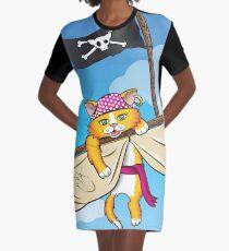 Cat's Adventure Graphic T-Shirt Dress