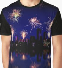 Fireworks celebration over skyscrapers Graphic T-Shirt