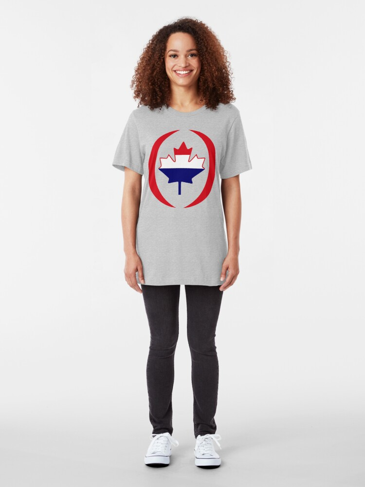 Alternate view of Dutch Canadian Multinational Patriot Flag Series Slim Fit T-Shirt