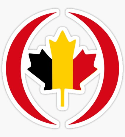 Belgian Canadian Multinational Patriot Flag Series Sticker
