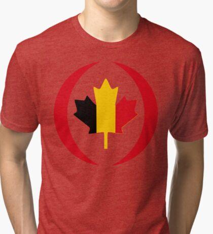 Belgian Canadian Multinational Patriot Flag Series Tri-blend T-Shirt