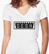 TEAM SESH BOX LOGO Women's Fitted V-Neck T-Shirt