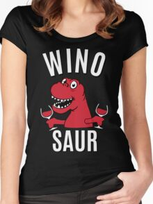 Winosaur Dinosaur Drinking Wine Women's Fitted Scoop T-Shirt