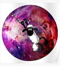 Sheep Fly On Galaxy Poster