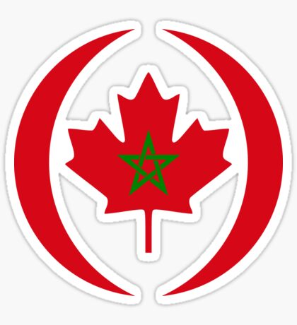 Moroccan Canadian Multinational Patriot Flag Series Sticker