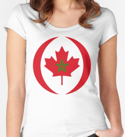 Moroccan Canadian Multinational Patriot Flag Series Fitted Scoop T-Shirt