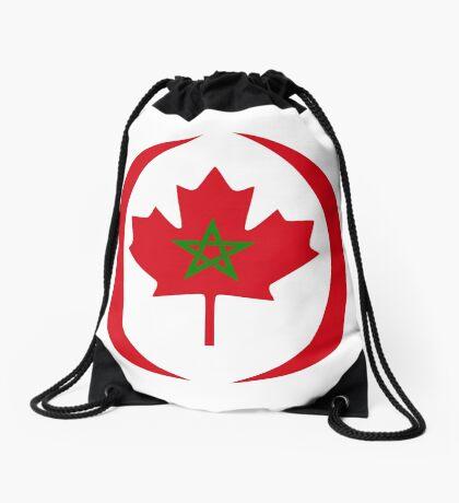 Moroccan Canadian Multinational Patriot Flag Series Drawstring Bag