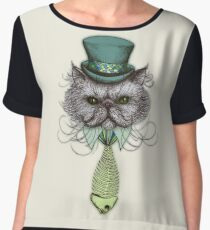 Not Your Average Cat Chiffon Top