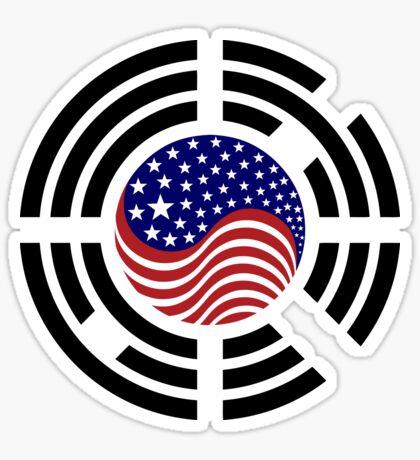 Korean American Multinational Patriot Flag Series 4.0 Glossy Sticker
