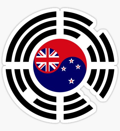 Korean Kiwi (New Zealand) Multinational Patriot Flag Series Sticker
