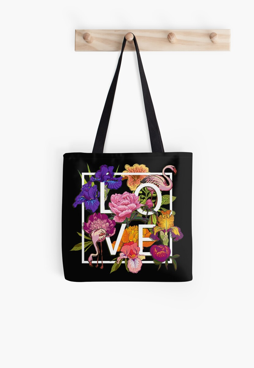 Floral and birds flamingos Love Graphic Design by OlgaBerlet