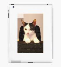 Photo Cute Cat Sitting at Keyboard  iPad Case/Skin