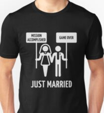 Just Married – Mission Accomplished – Game Over (White) T-Shirt