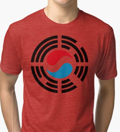 Korean Luxembourg Multinational Patriot Flag Series Tri-blend T-Shirt