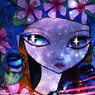 Blue Fairy Wren & Fire Flies by Sheridon Rayment