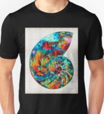 Colorful Nautilus Shell by Sharon Cummings Unisex T-Shirt