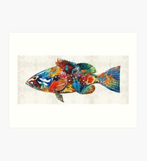 Colorful Grouper Art Fish by Sharon Cummings Art Print