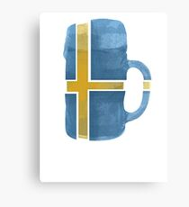 Sweden Beer Flag Canvas Print