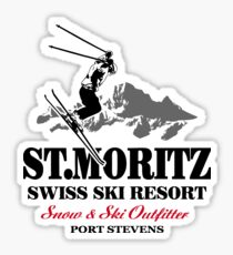 St. Moritz - Ski Alpine - Swiss flag Sticker