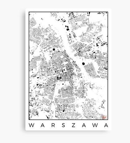 Warszawa Map Schwarzplan Only Buildings Urban Plan Canvas Print