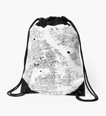 Warszawa Map Schwarzplan Only Buildings Urban Plan Drawstring Bag
