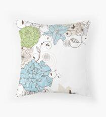 Vintage Blue Flower Throw Pillow