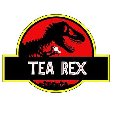 Tea rex coffe time by Downyart
