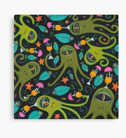 Sea Monster Party Canvas Print