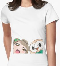 Kotori and Rowlet cornerface Womens Fitted T-Shirt
