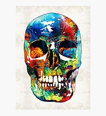 Colorful Skull Art - Aye Candy - By Sharon Cummings Photographic Print