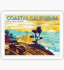 Pegatina Costa de California: explore Miles of Shore. Pacific Coast Highway Vintage Poster Acuarela sobre lienzo