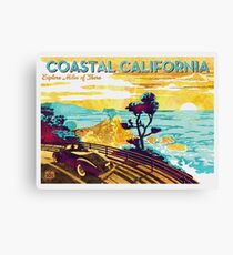 Coastal California: Explore Miles of Shore. Pacific Coast Highway Vintage Poster Watercolor Painting on Canvas Canvas Print