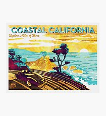Coastal California: Explore Miles of Shore. Pacific Coast Highway Vintage Poster Watercolor Painting on Canvas Photographic Print