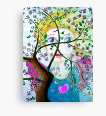 There's an angel behind the blooming tree Canvas Print