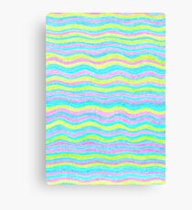 Neon Colors Hand Drawn Psychedelic Stripe Pattern  Canvas Print
