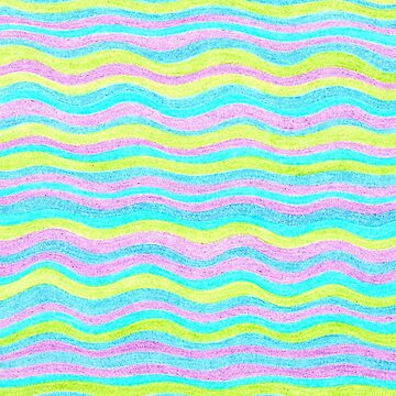 Neon Colors Hand Drawn Psychedelic Stripe Pattern  by theartofvikki
