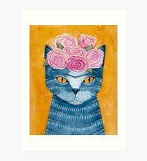 Frida Catlo in Blue Art Print