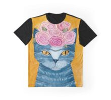 Frida Catlo in Blue Graphic T-Shirt