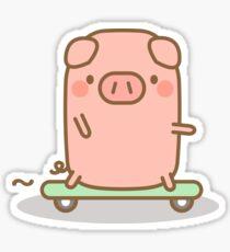 Skateboard Piggy Sticker