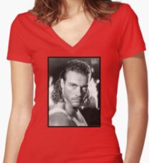 Jean Claude Van Damme Women's Fitted V-Neck T-Shirt