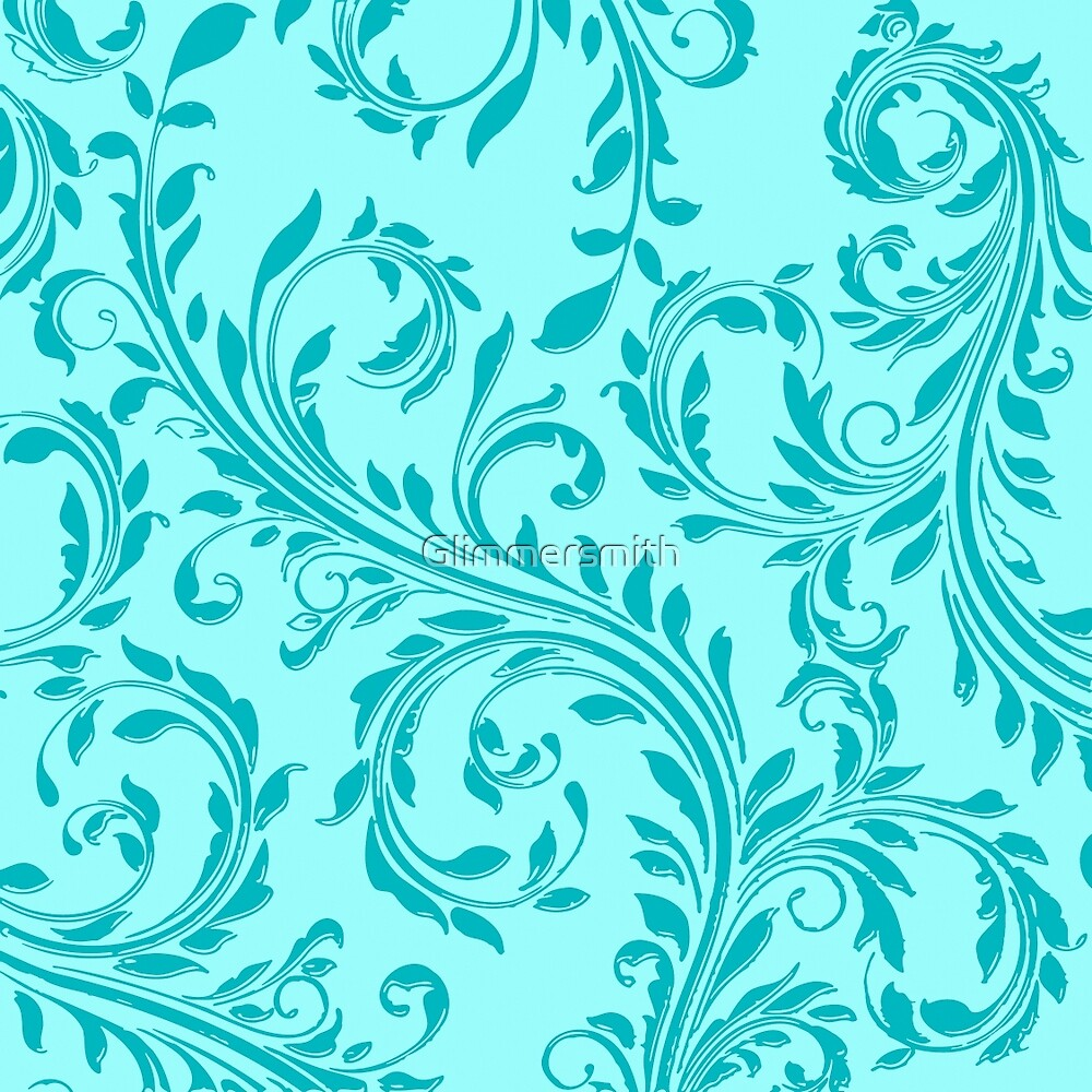 Aqua Teal Damask vintage floral swirl pattern by Glimmersmith
