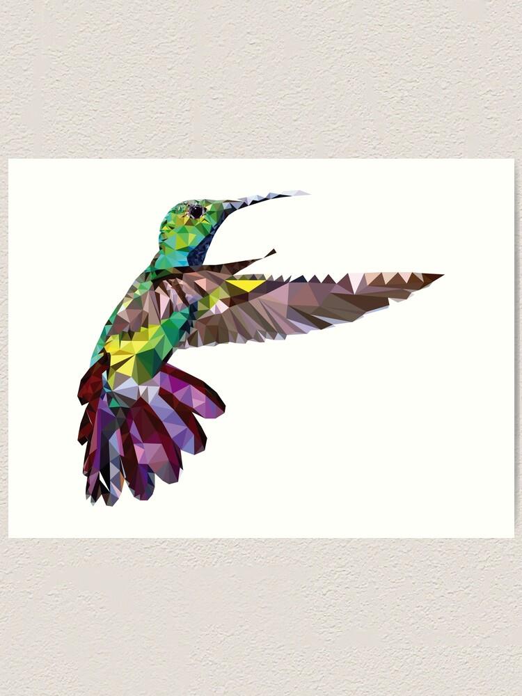 Alternate view of Geometric Hummingbird Art Print