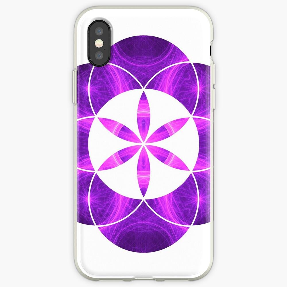 Lila Kreise | Heilige Geometrie Blume des Lebens iPhone-Hüllen & Cover