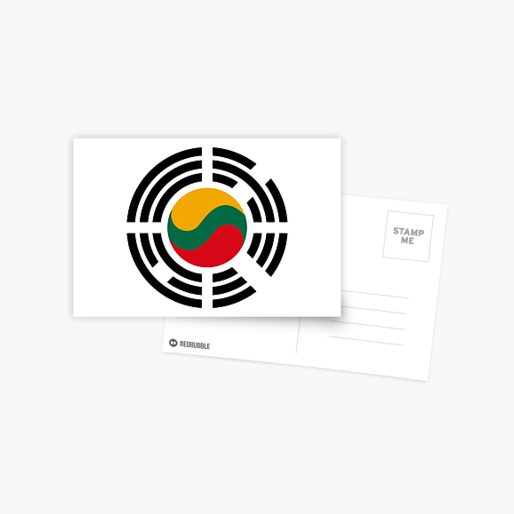 Korean Lithuanian Multinational Patriot Flag Series Postcard
