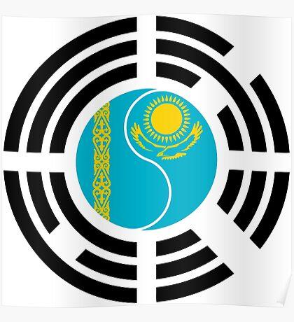 Korean Kazakhstan Multinational Patriot Flag Series Poster