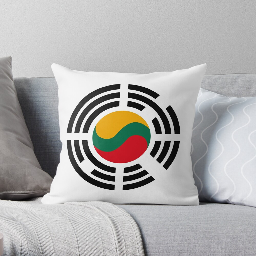 Korean Lithuanian Multinational Patriot Flag Series Throw Pillow