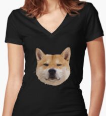 Hachiko Dog Women's Fitted V-Neck T-Shirt
