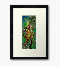 GREEN FAIRY WITH GOLD SILVER SPARKLES IN MOONLIGHT Framed Print