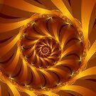 Beautiful Golden Orange Shell Spiral Fractal by Kitty Bitty